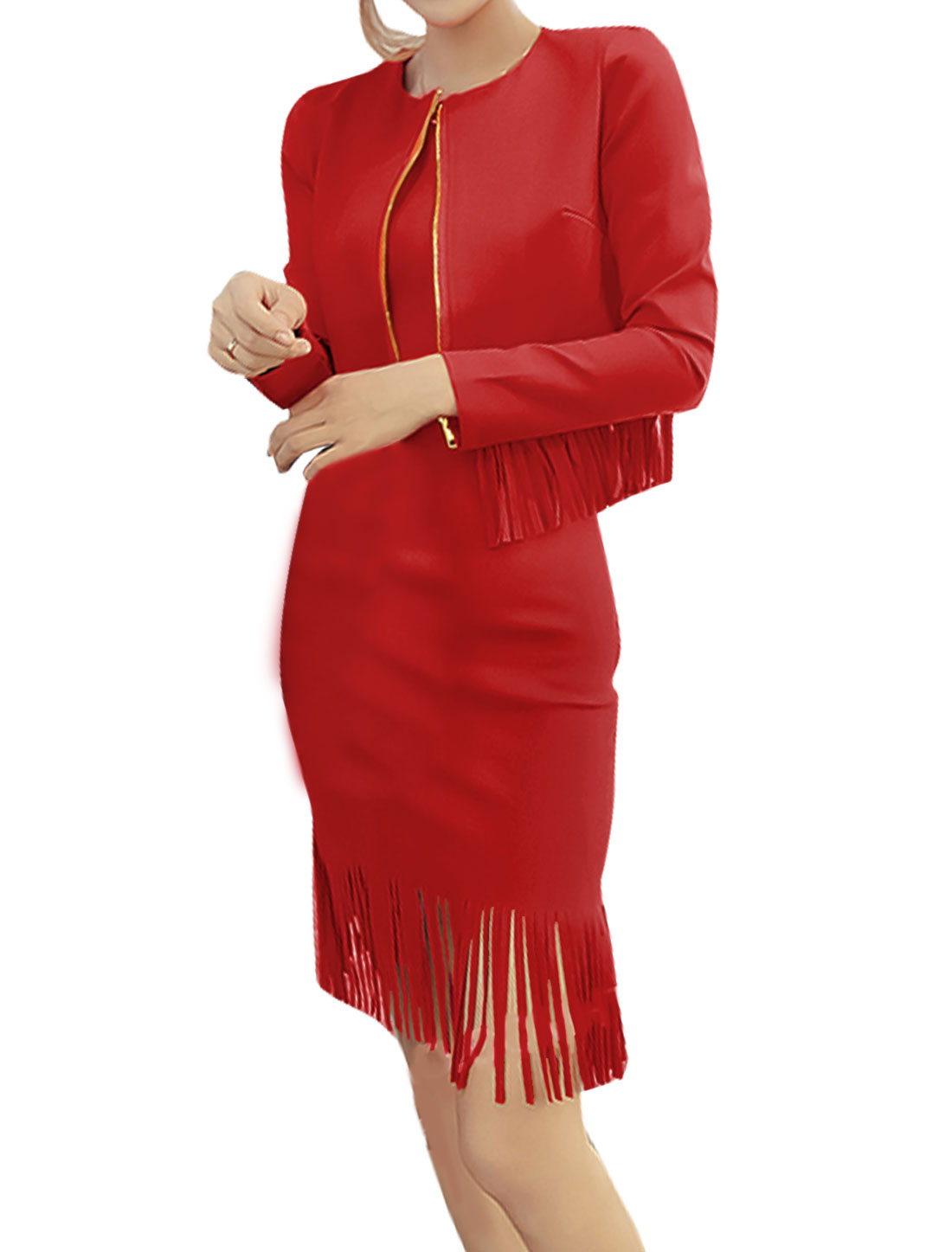 Women Zip Up Crop Jacket w Sleeveless Tassel Sheath Dress Sets Red XS