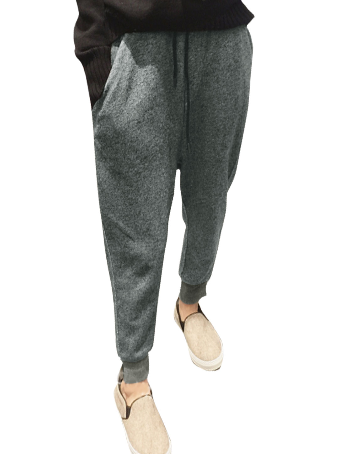 Women Split Cuffs Drawstring Waist Tapered Sweatpants Gray XS
