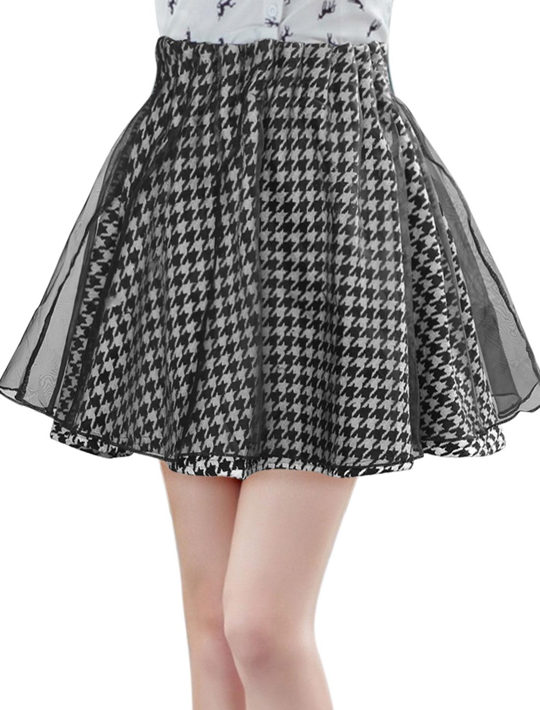 Women Elastic Waist Houndstooth Organza Layered A Line Skirt Black XS