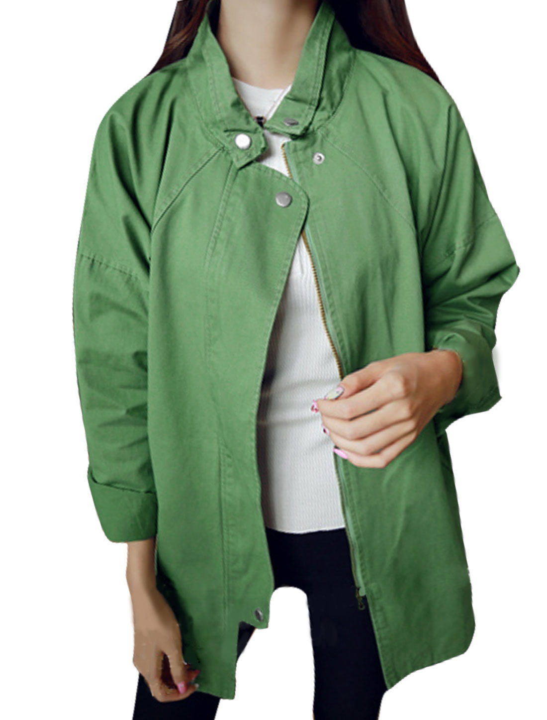 Women Collared Zip Up Loose Tunic Trench Coat Green S