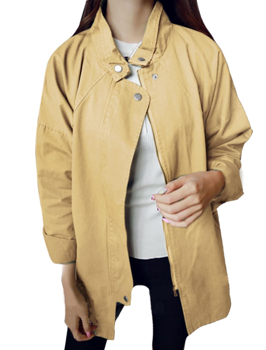 Women Collared Zip Up Loose Tunic Trench Coat Beige S