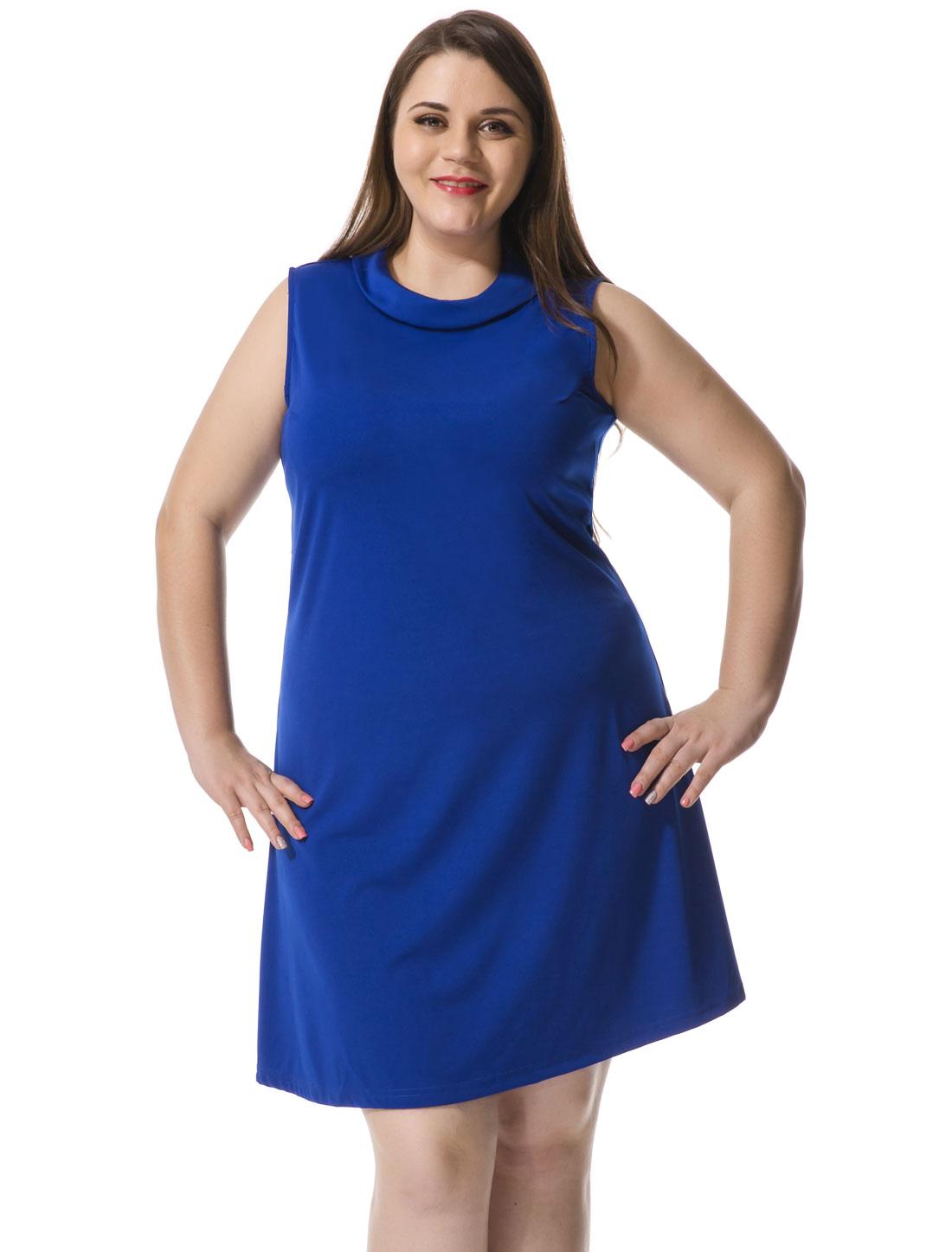 Women Plus Size Turn Down Collar Sleeveless Dress Blue 1X