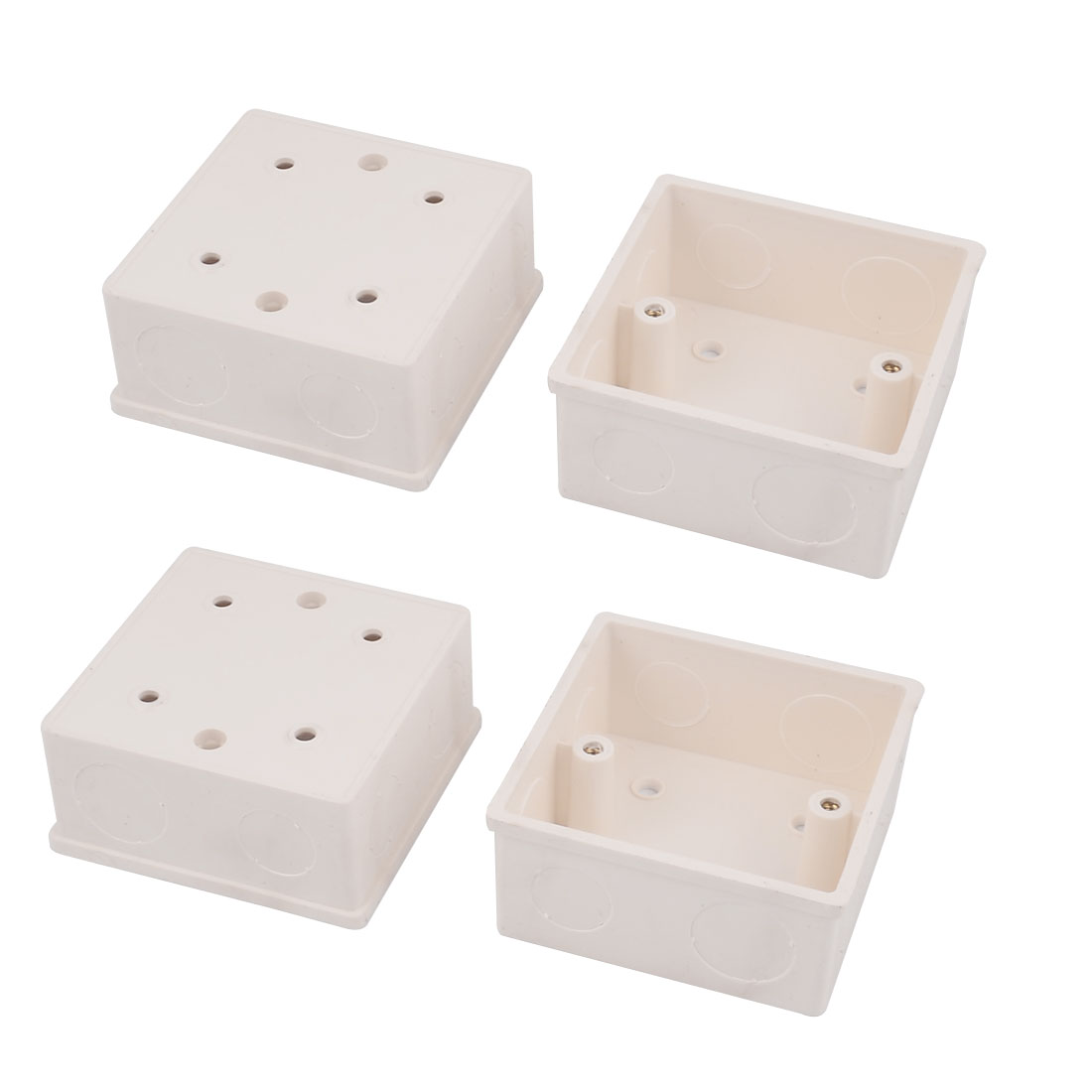 4 Pcs 86mmx86mmx43mm Off-white PVC Mount Back Box for Wall Socket