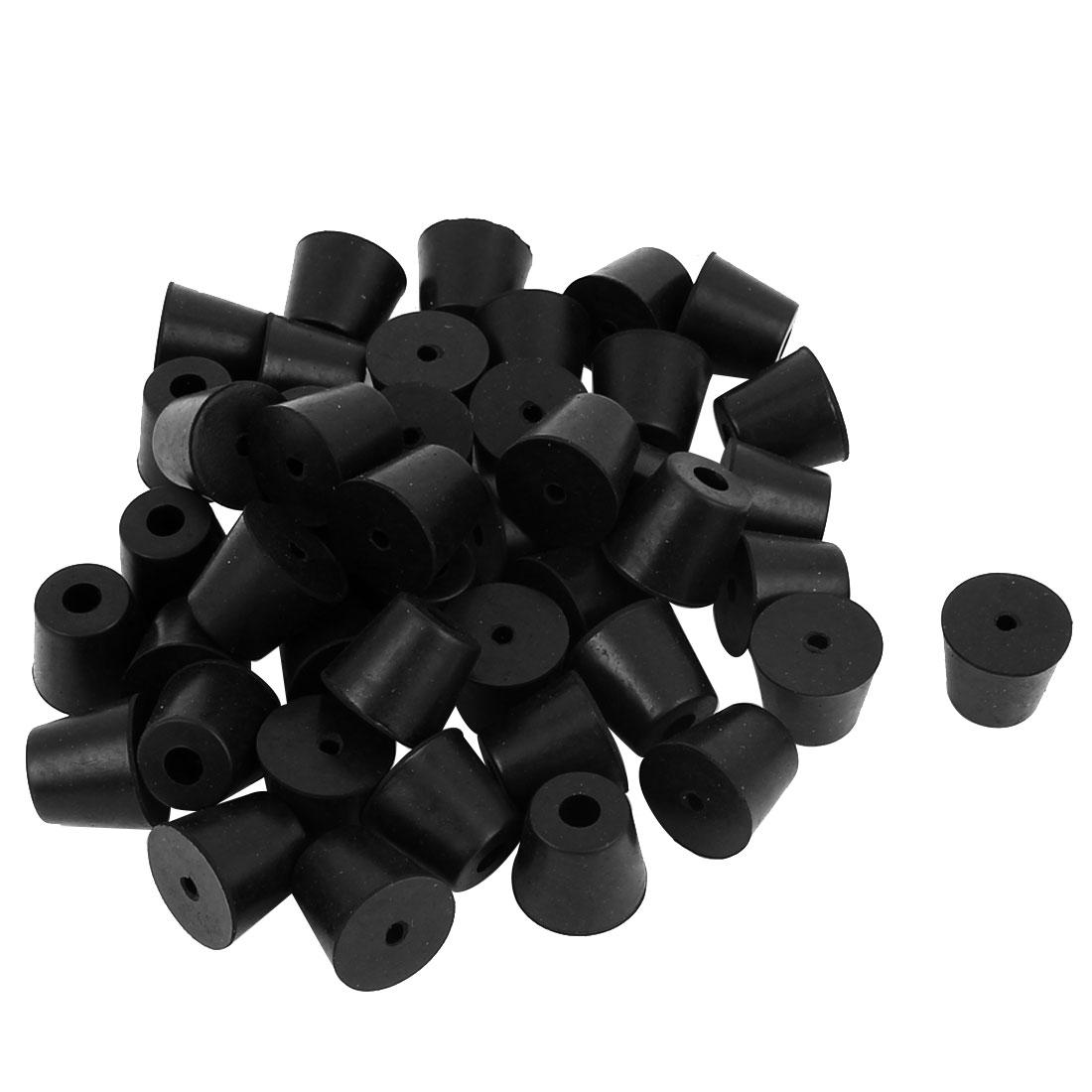 45 Pcs 20mm x 17mm Conical Rubber Furniture Bumper Foot Cover Pad Black