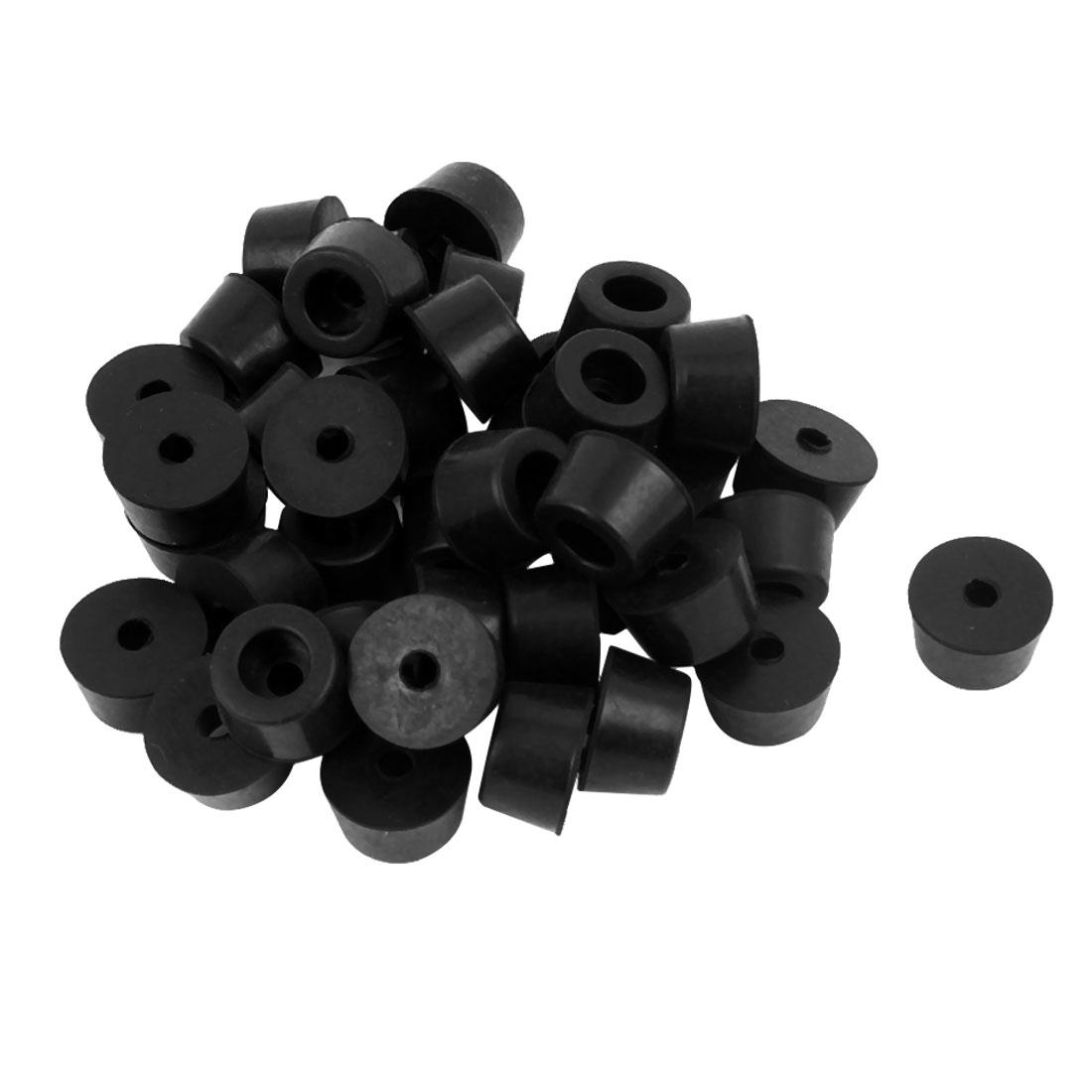 40 Pcs 17mm x 10mm Conical Rubber Furniture Bumper Foot Cover Pad Black