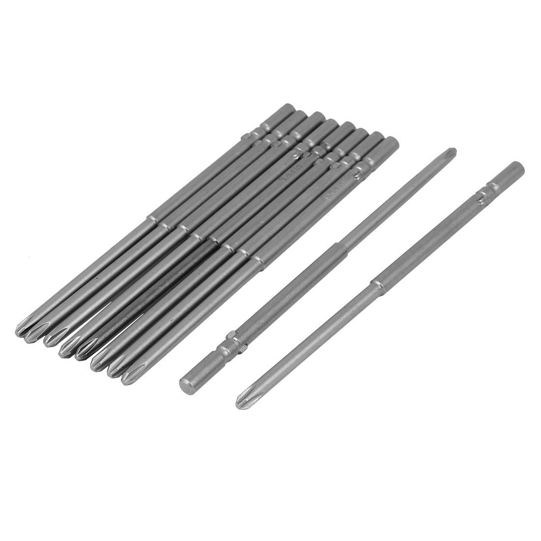 120mm Long 5mm Dia Shank Magnetic Phillips Tip PH2 Cross Head Screwdriver Bits 10pcs