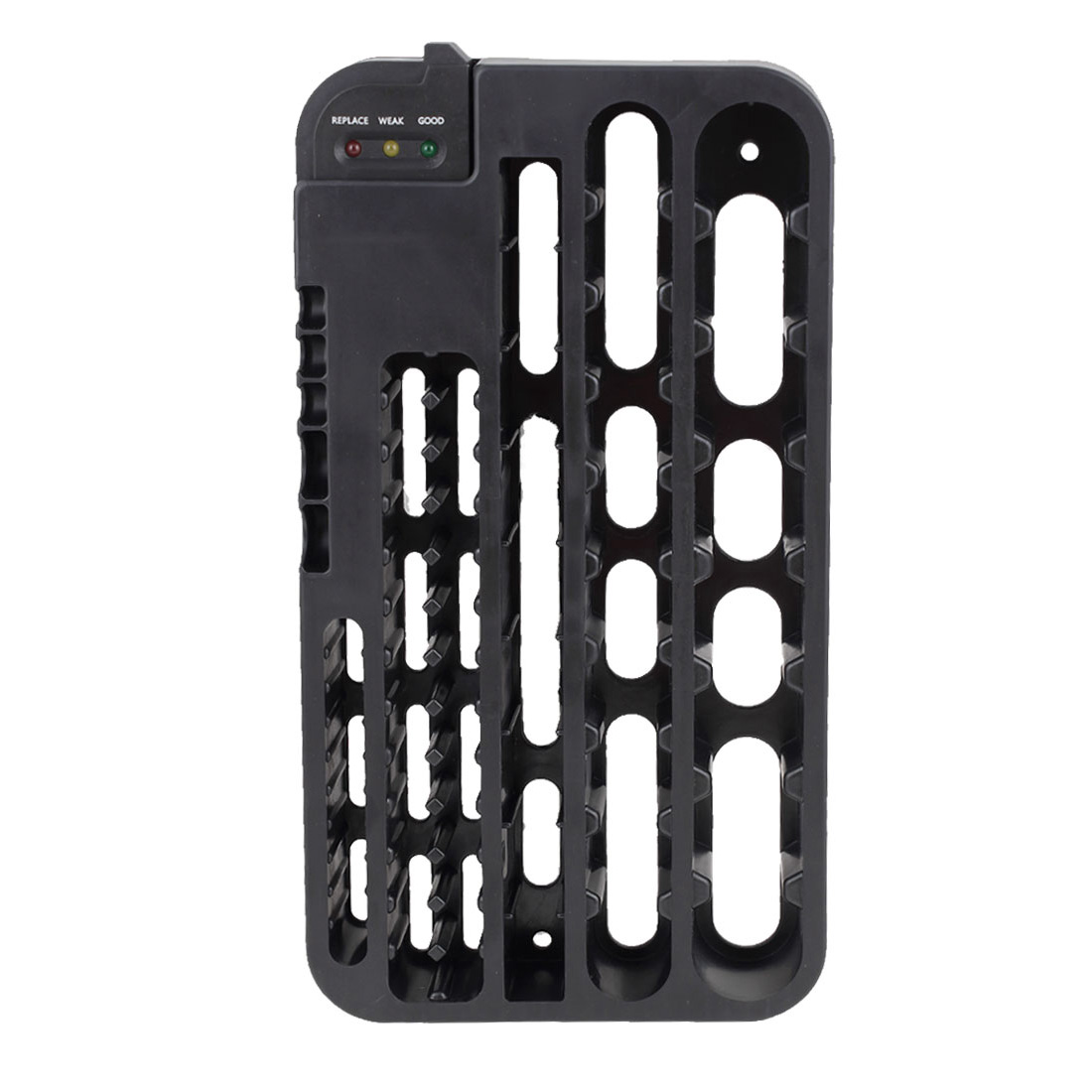 Battery Organizer Removable Batteries Tester Wall Mount AAA/AA/C/D 9V Holder Storage 72 Batteries Rack