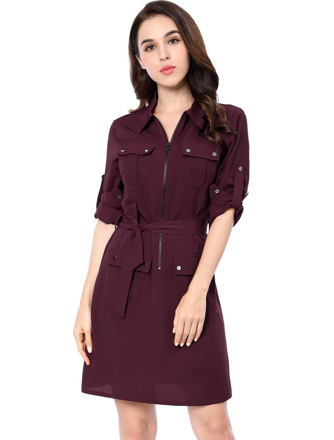 Women Roll Up Sleeves Multi-Pocket Above Knee Belted Shirt Dress Red XS
