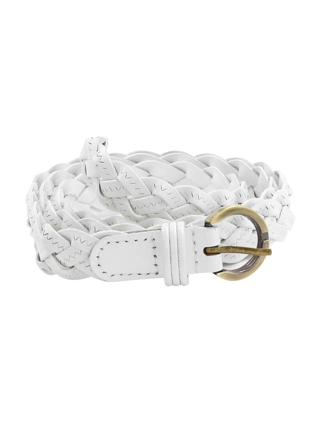 Unisex Adjustable Zig Zag Design PU Weave Belt White