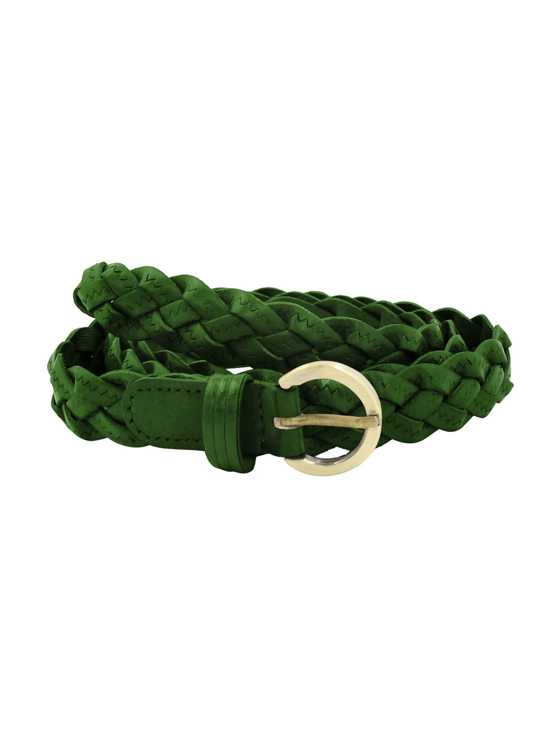 Unisex Adjustable Zig Zag Design PU Weave Belt Green