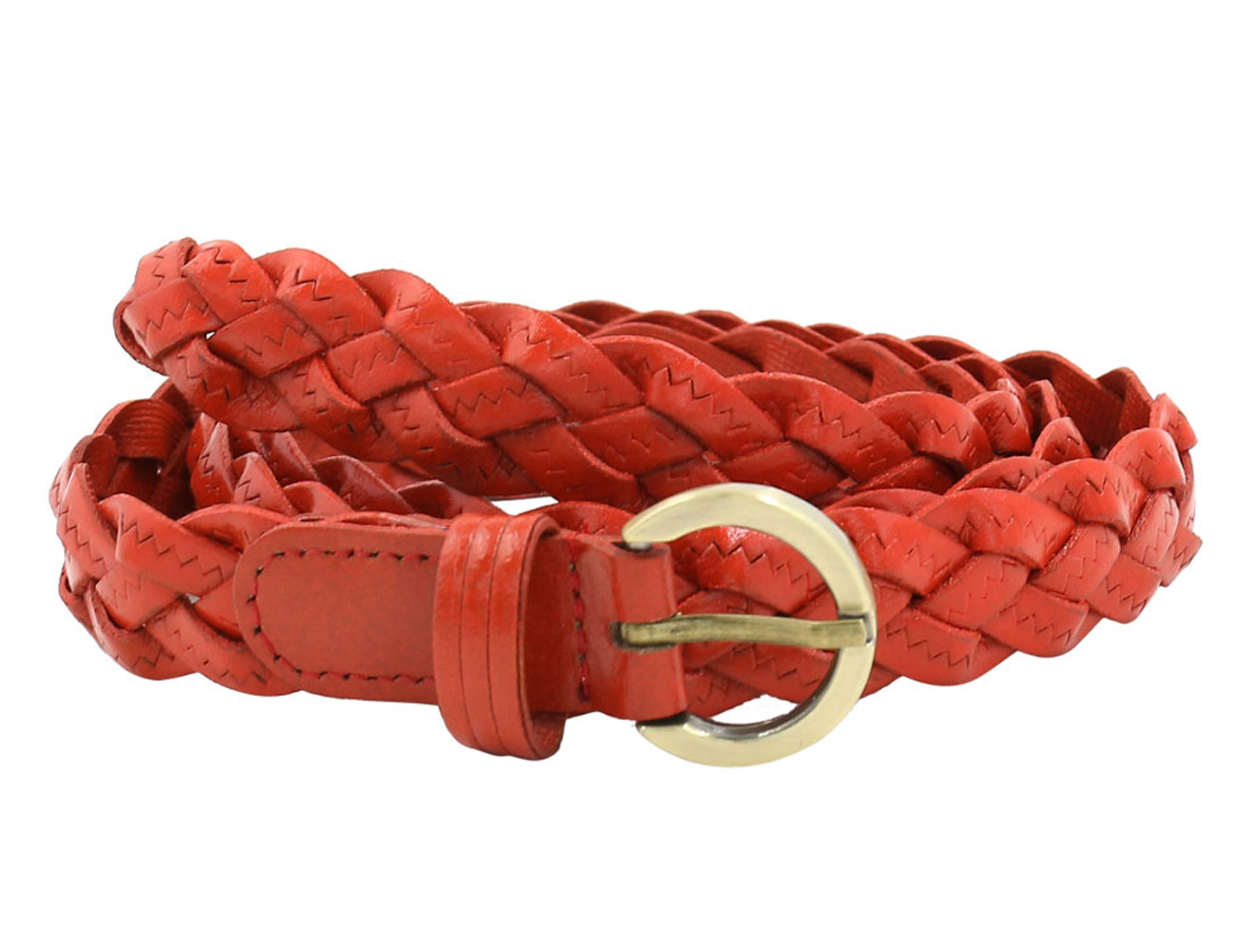 Unisex Adjustable Zig Zag Design PU Weave Belt Red