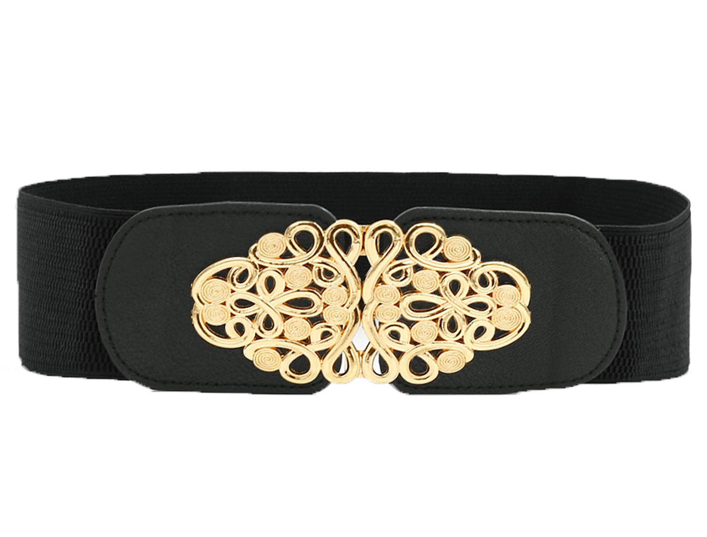 Women Interlocking Buckle Chinese Knotting Waist Belt Black