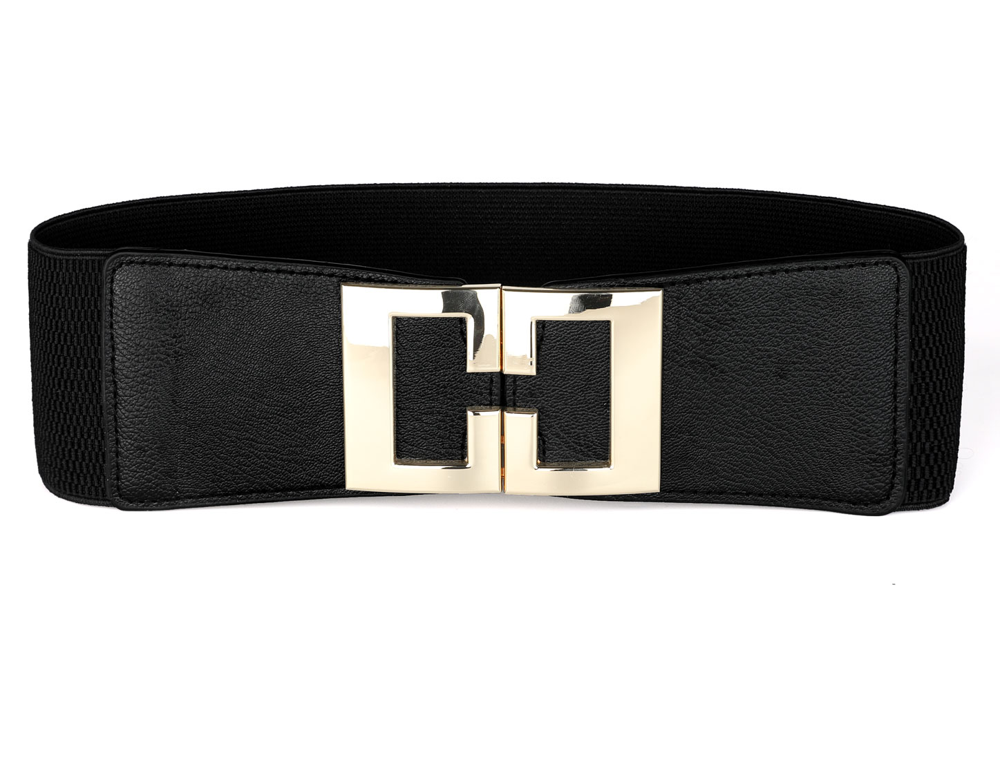 Women Stretch Waistband Metal Decor Waist Belt Black