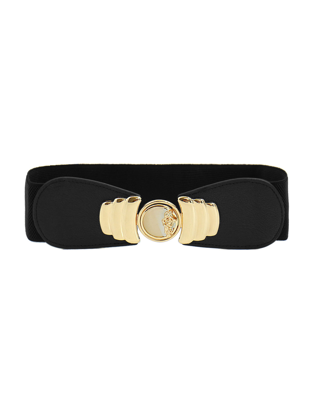 Women Elastic Waistband Floral Metal Decor Waist Belt Black