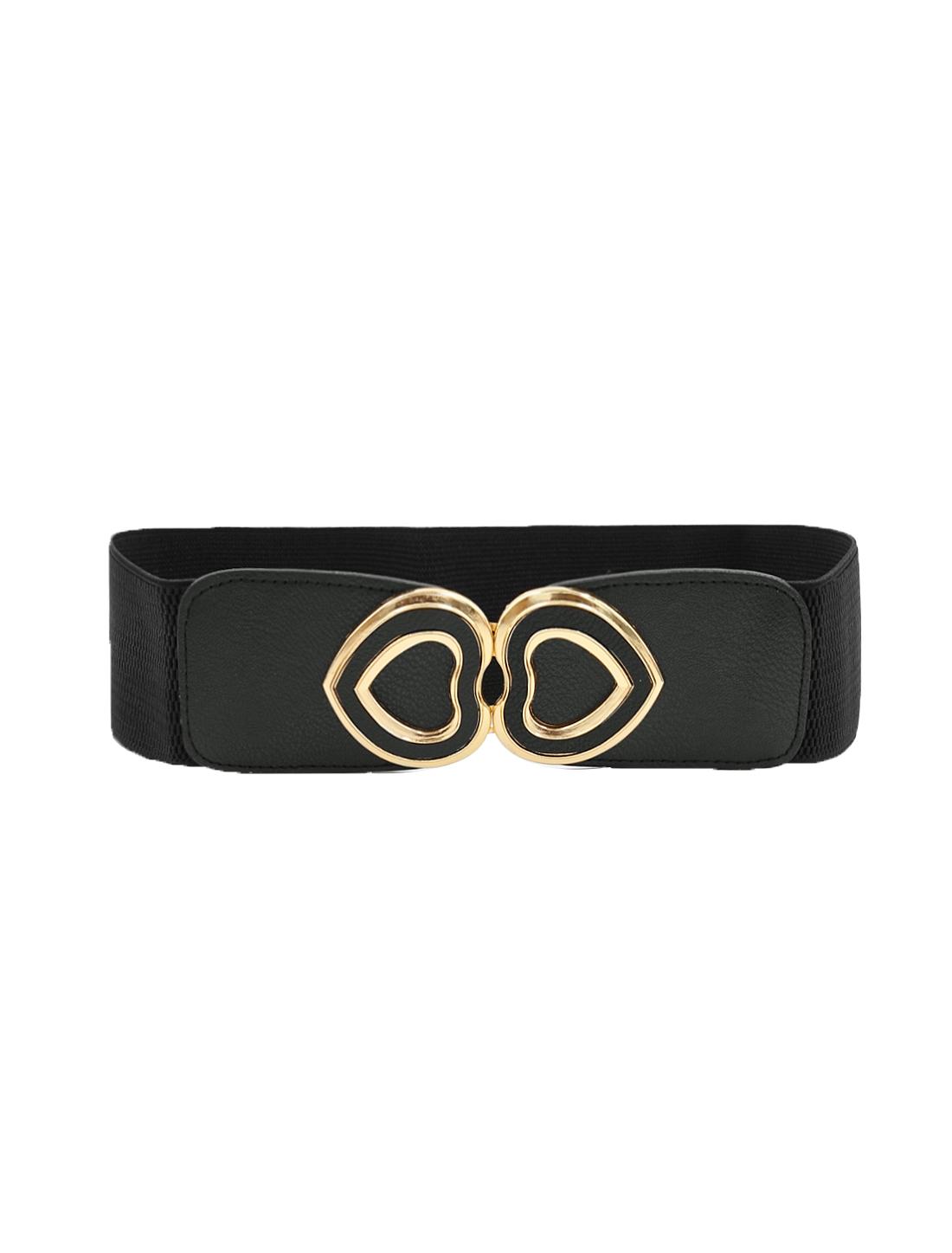 Ladies Stretch Waistband Hearts Waist Belt Black