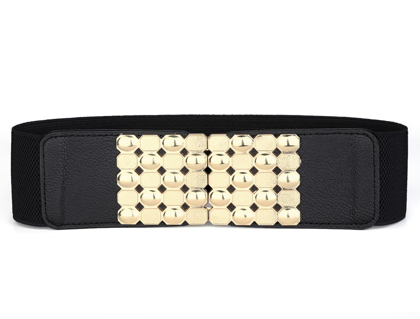 Lady Interlocking Buckle Geometric Metal Decor Waist Belt Black