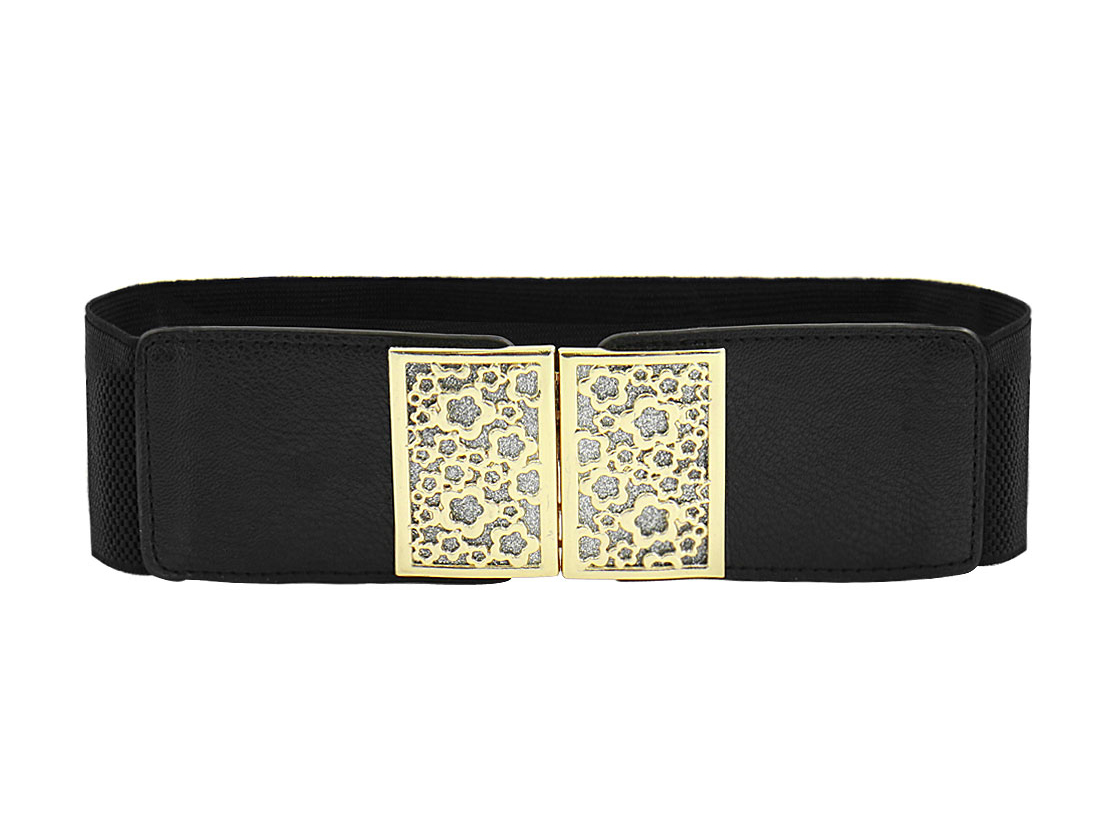 Women Interlocking Buckle Sequined Floral Square Waist Belt Black