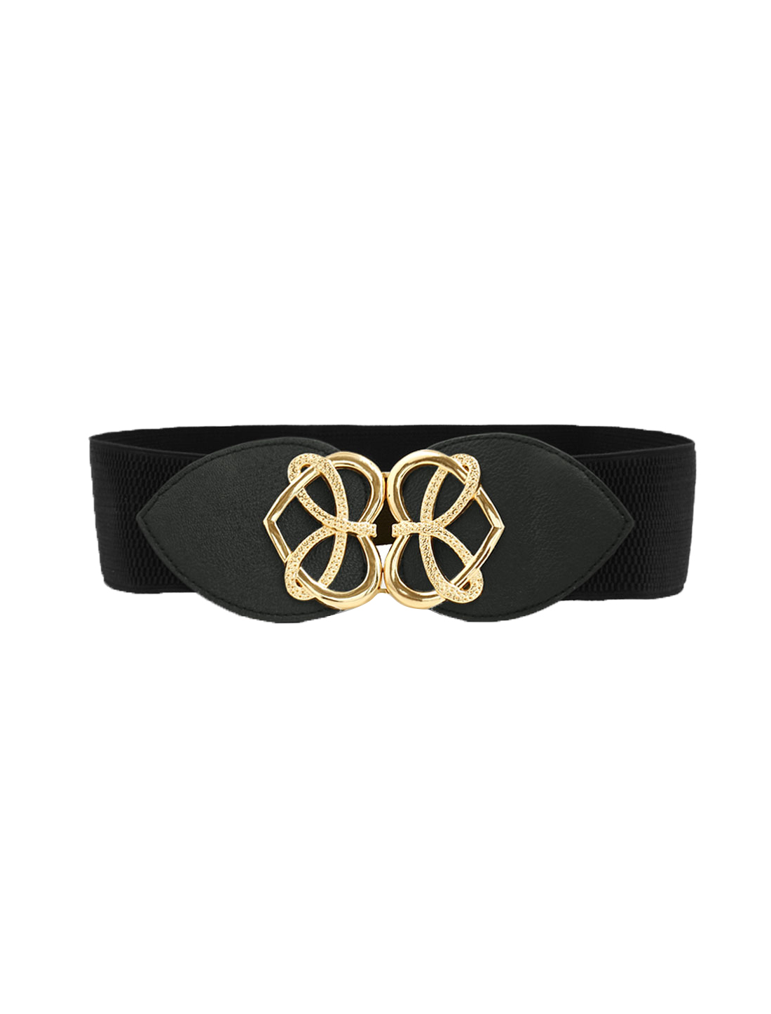 Women Interlocking Buckle Knot Heart Waist Belt Black