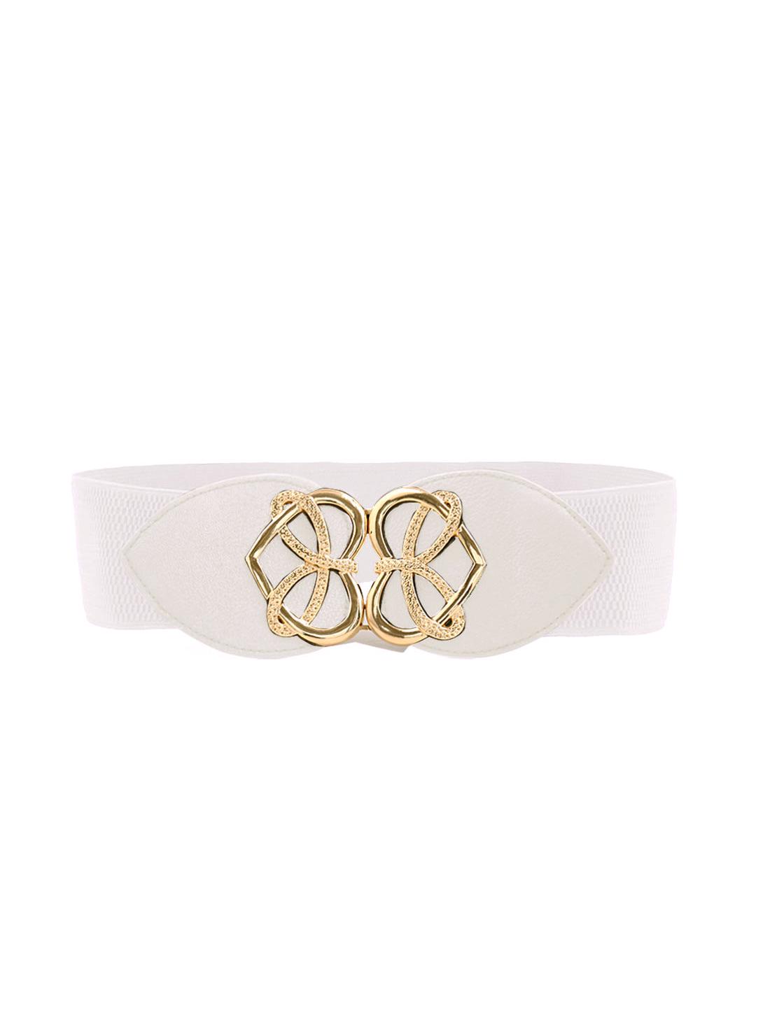 Women Interlocking Buckle Knot Heart Waist Belt White
