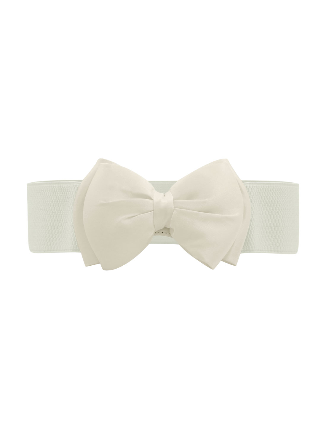 Women Press Studs Closure Bowknot Elastic Waist Belt White