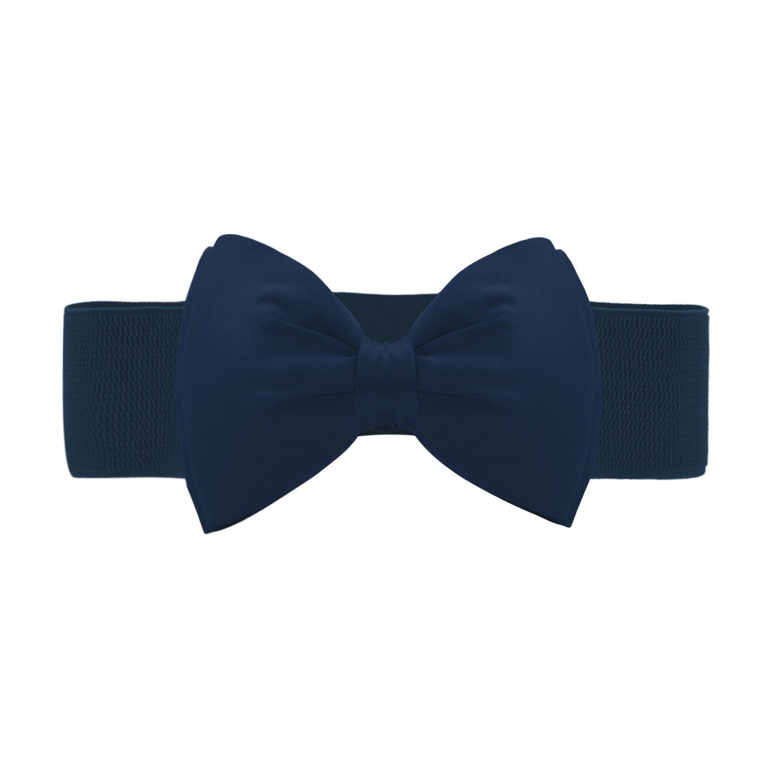 Women Press Studs Closure Bowknot Elastic Waist Belt Blue