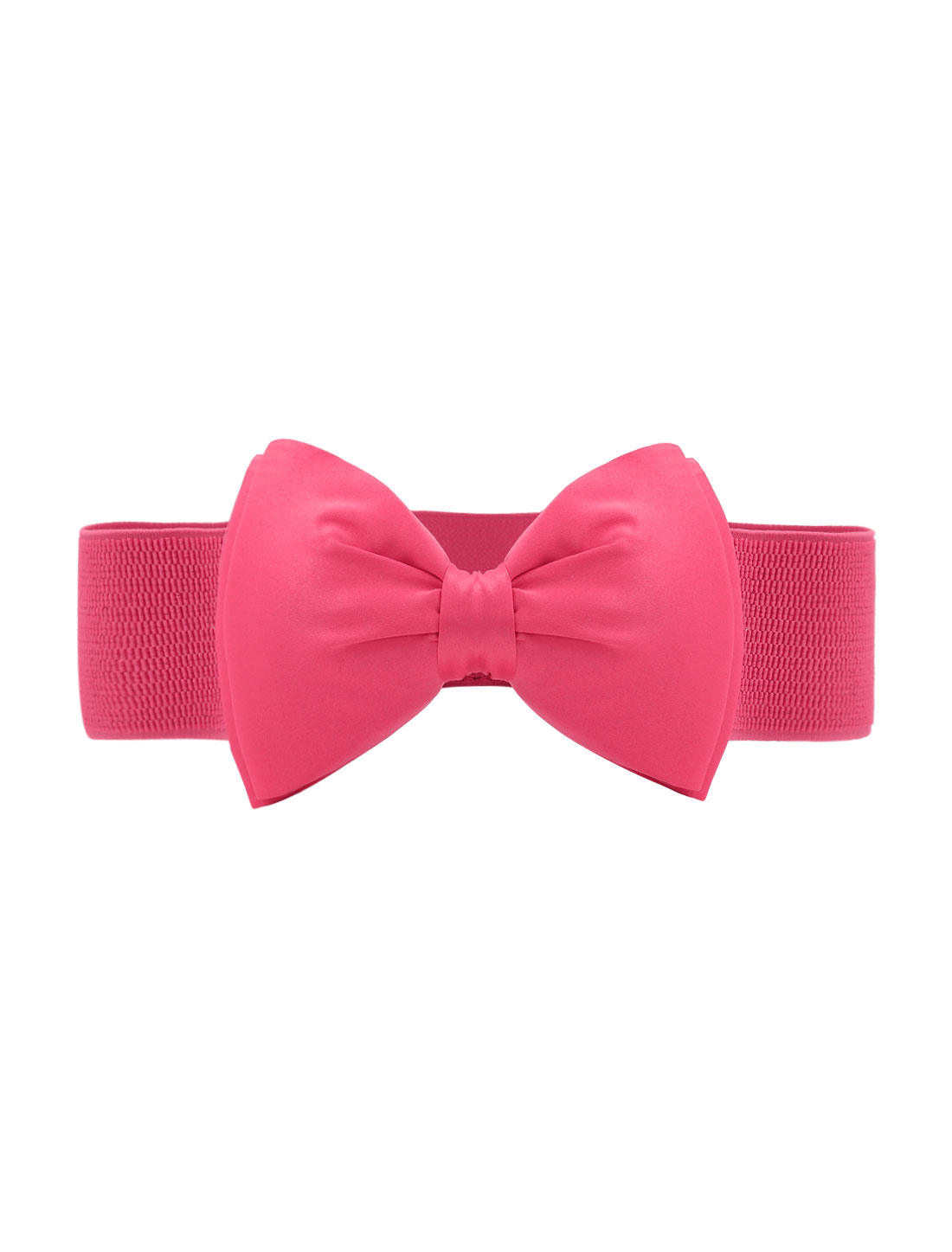 Women Press Studs Closure Bowknot Elastic Waist Belt Pink