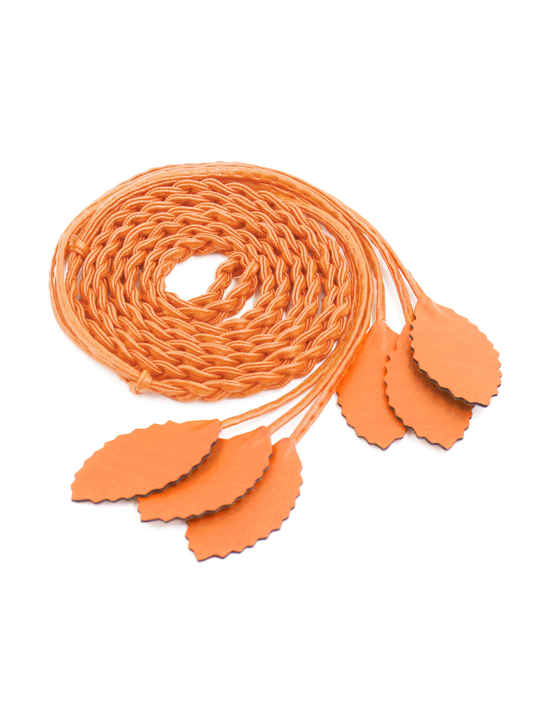 Women Self Tie Leaves Skinny PU Braided Waist Belt Orange
