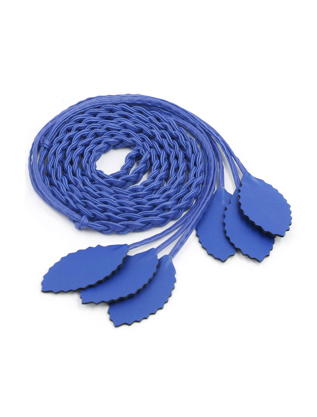 Women Self Tie Leaves Skinny PU Braided Waist Belt Royal Blue