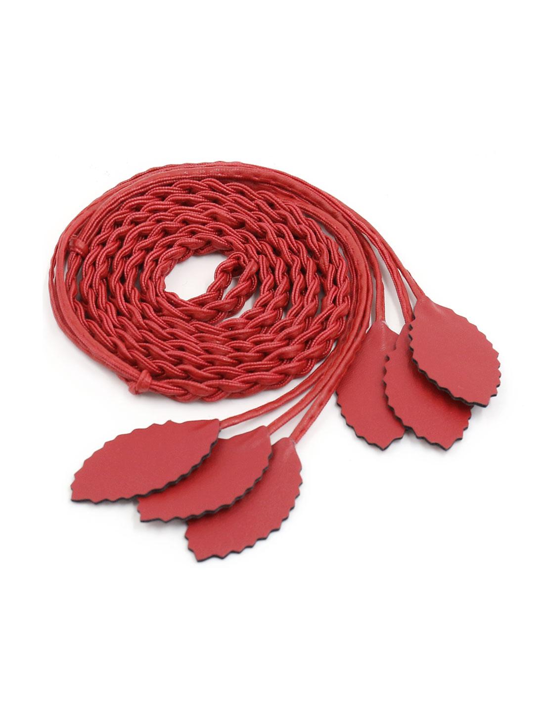 Women Self Tie Leaves Skinny PU Braided Waist Belt Red