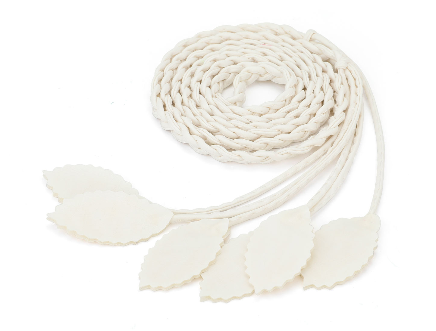 Women Self Tie Leaves Skinny PU Braided Waist Belt White