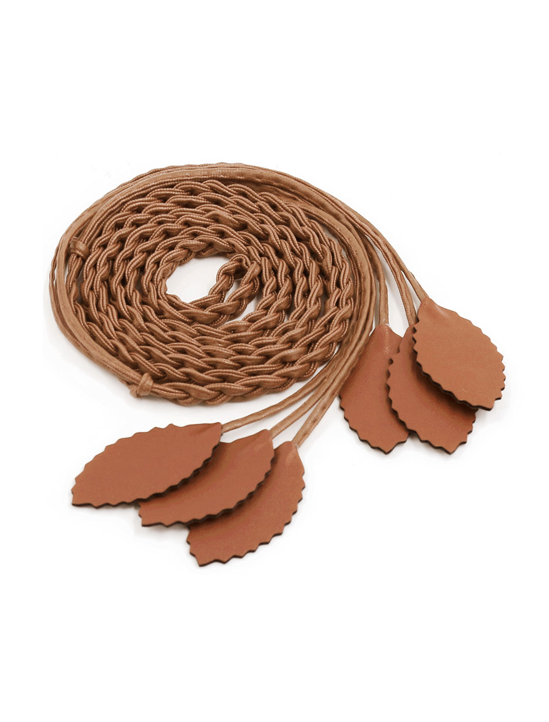 Women Self Tie Leaves Skinny PU Braided Waist Belt Coffee