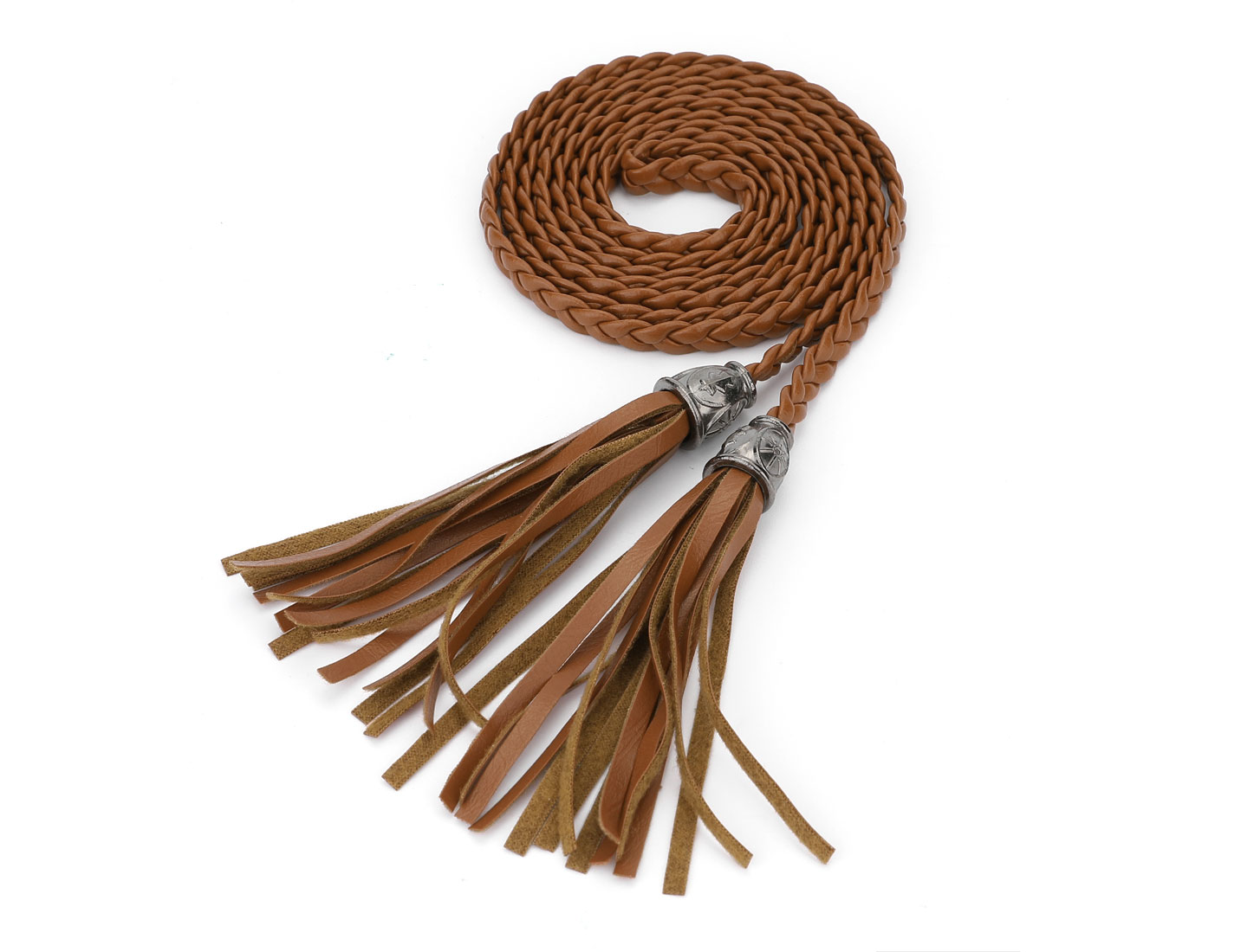 Women Tassels Beaded Braided Skinny PU Waist Belt Brown