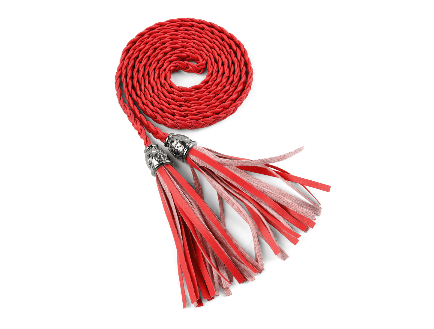 Women Tassels Beaded Braided Skinny PU Waist Belt Red