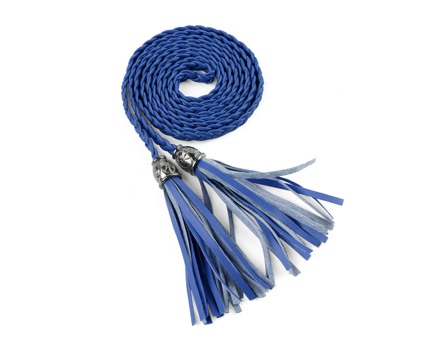 Women Tassels Beaded Braided Skinny PU Waist Belt Royal Blue