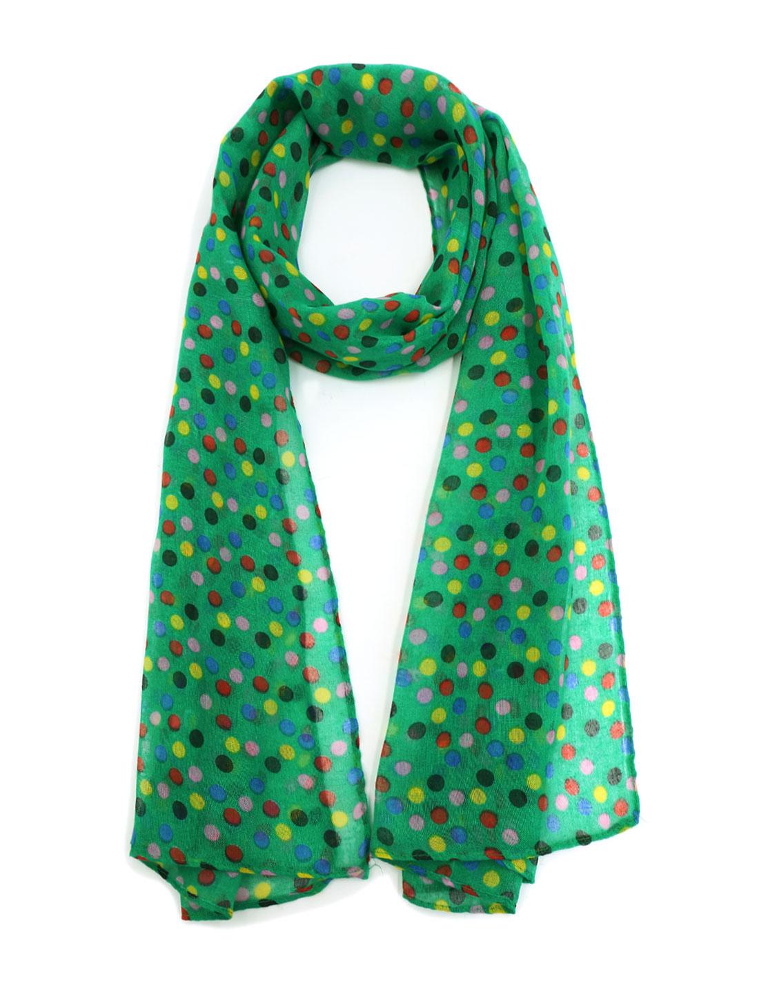 Women Rectangular Semi Sheer Dots Prints Shawl Scarf Green