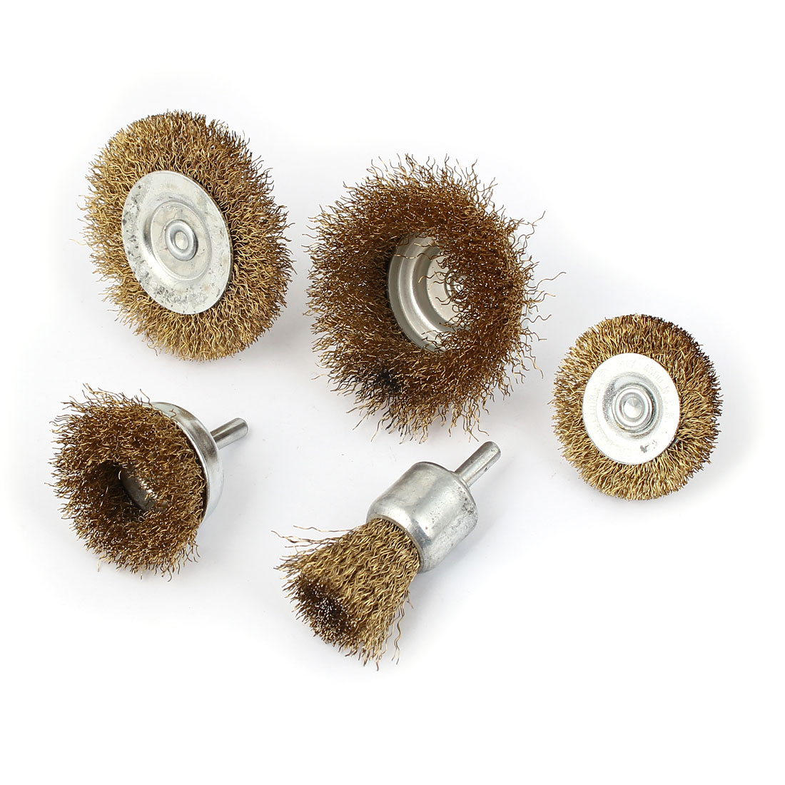Steel Wire Polishing Wheel Grinder Cleaning Brush Tool 5 in 1 Set Gold Tone