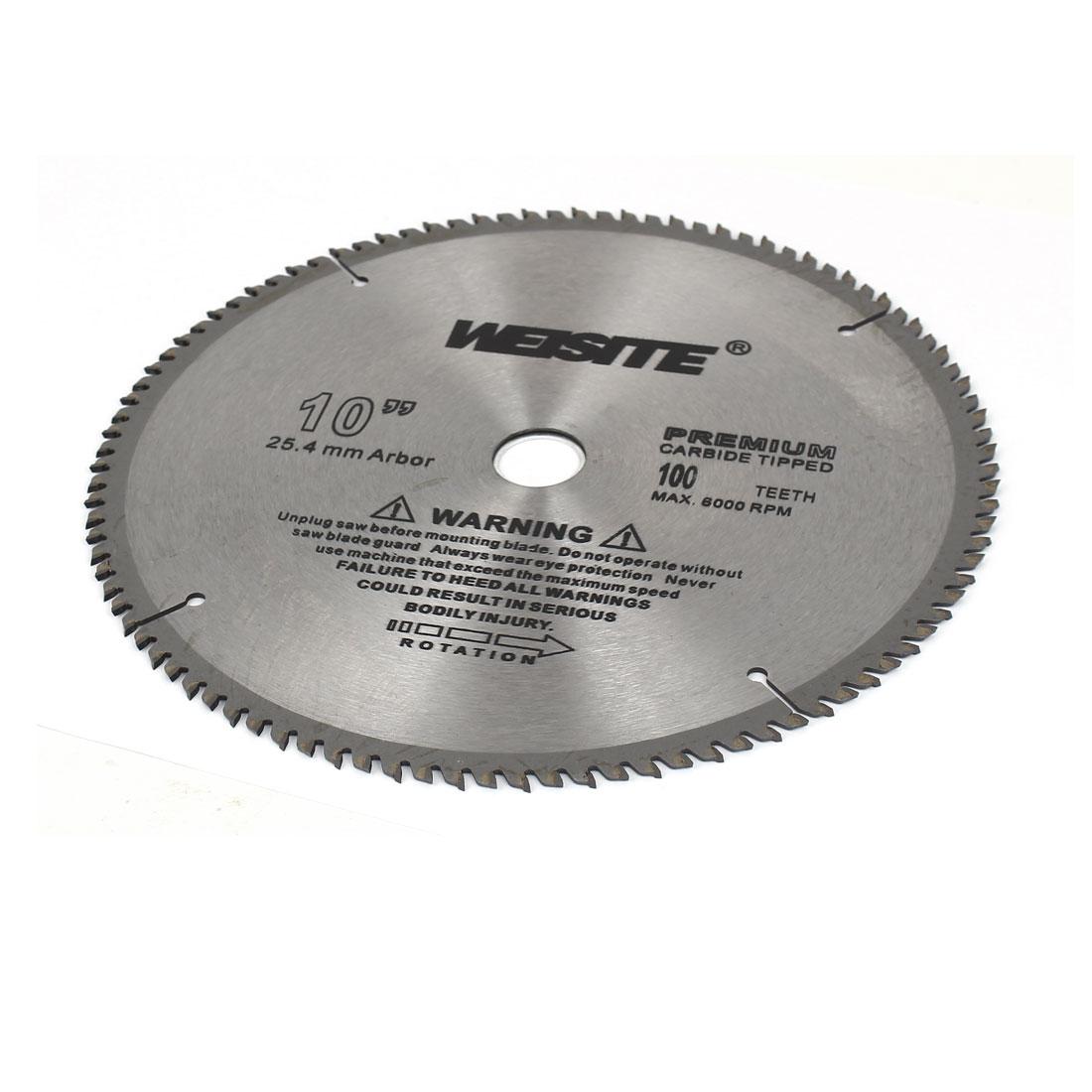"Carbide Tipped Circular Saw Cutter Tool 10"" Diameter 100T Teeth Silver Gray"