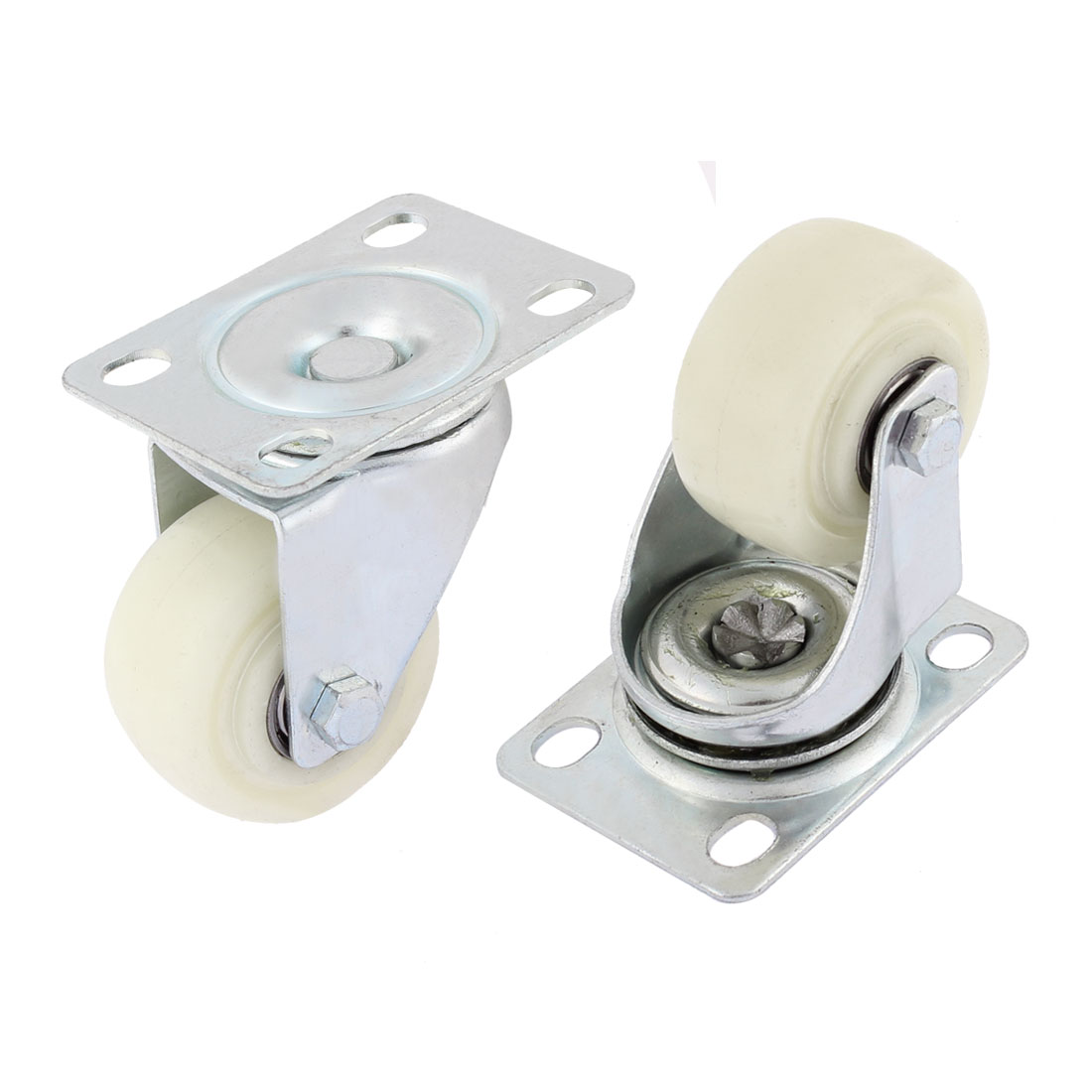 50mm Dia Plastic Base Metal Top Plate Bearing Swivel Caster Wheels 2PCS