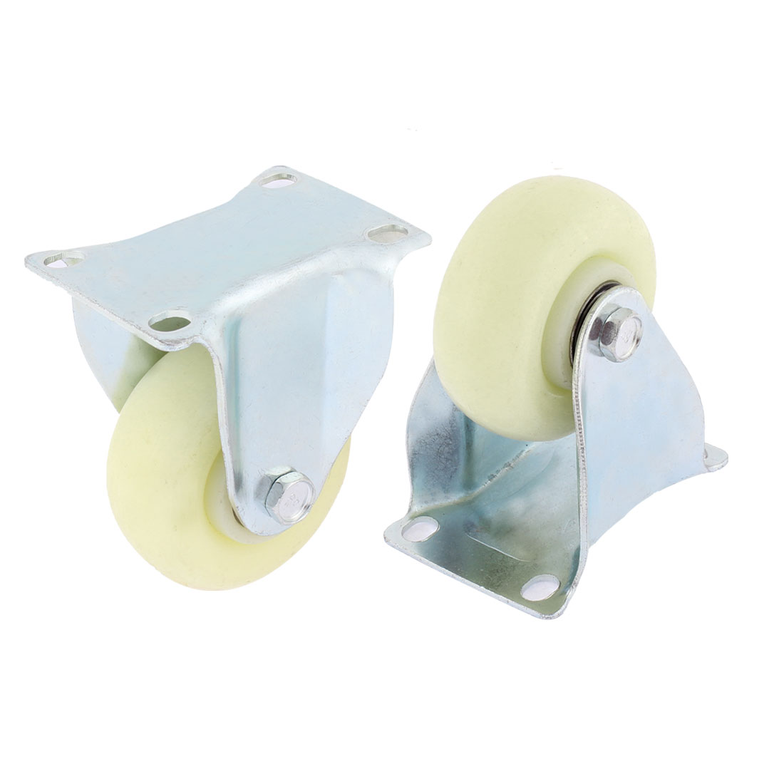 75mm Dia White Plastic Wheels Base Metal Top Plate Swivel Caster 2 Pcs