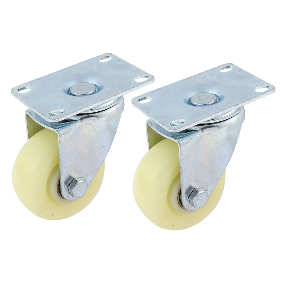 2pcs White Plastic 360 Degree Wheels Metal Top Plate Swivel Caster 75mm Dia