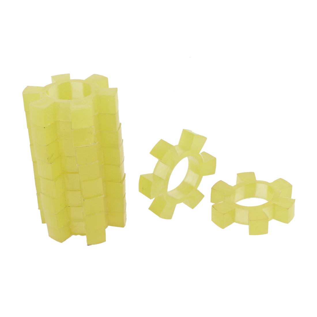 34mm Bore 6 Petal Yellow Plastic Drive Shaft Center Coupler Damper 10pcs