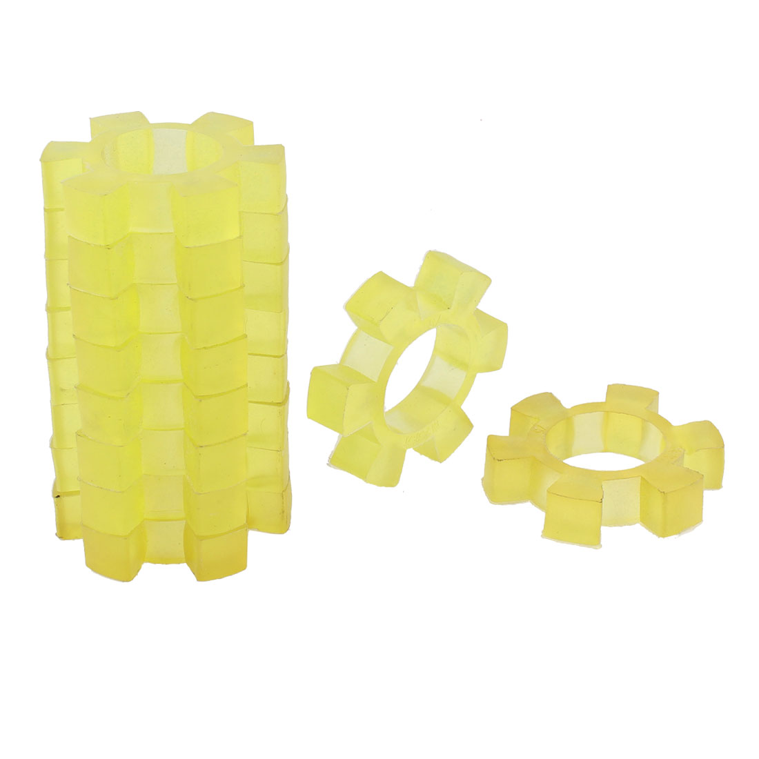 14mm Thickness Flexible Plastic Coupling Coupler Damper Yellow 10 Pcs