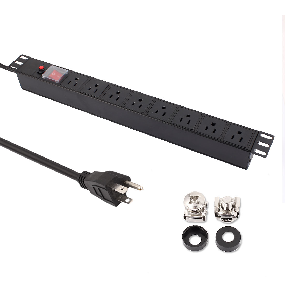 AC 110-125V US Plug Fused Extension Cable 8 US Power Socket Strip Switch PDU Power Distribution Unit
