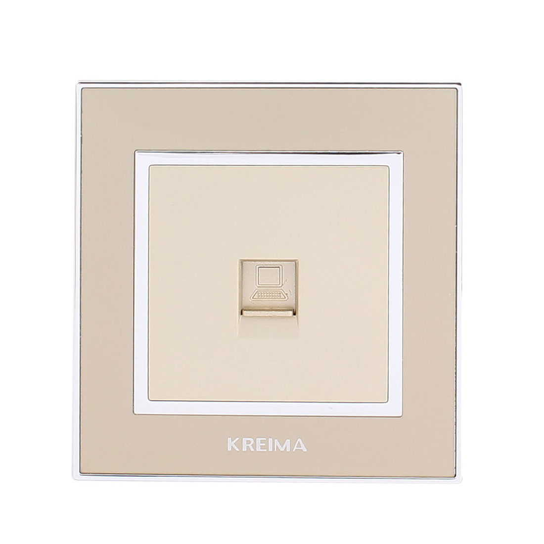 Computer PC RJ45 8P8C Network Outlet Wall Socket Panel Plate Gold Tone