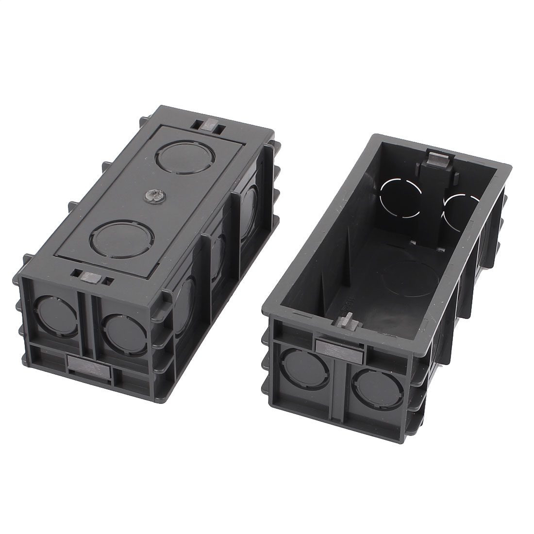 2 Pcs Rectangle Design 178mmx65mmx45mm Switch Pattress Back Box Case Black