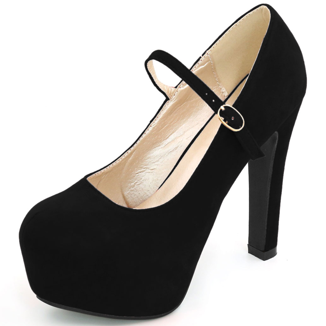 Woman Rounded Toe Chunky Platform Buckle Strap Pumps Black US 8