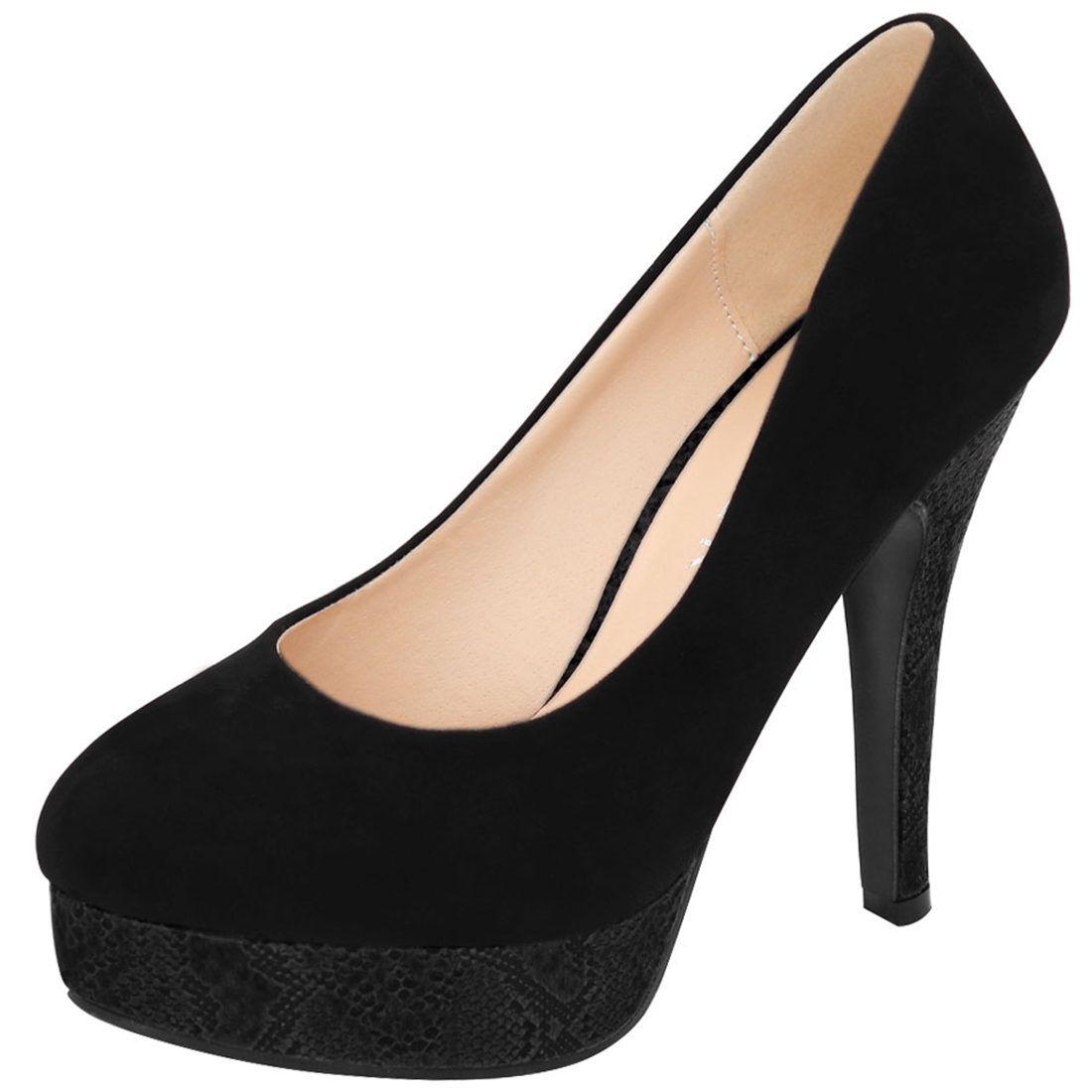 Woman Rounded Toe Snake Effect Stiletto Platform Pumps Black US 7.5