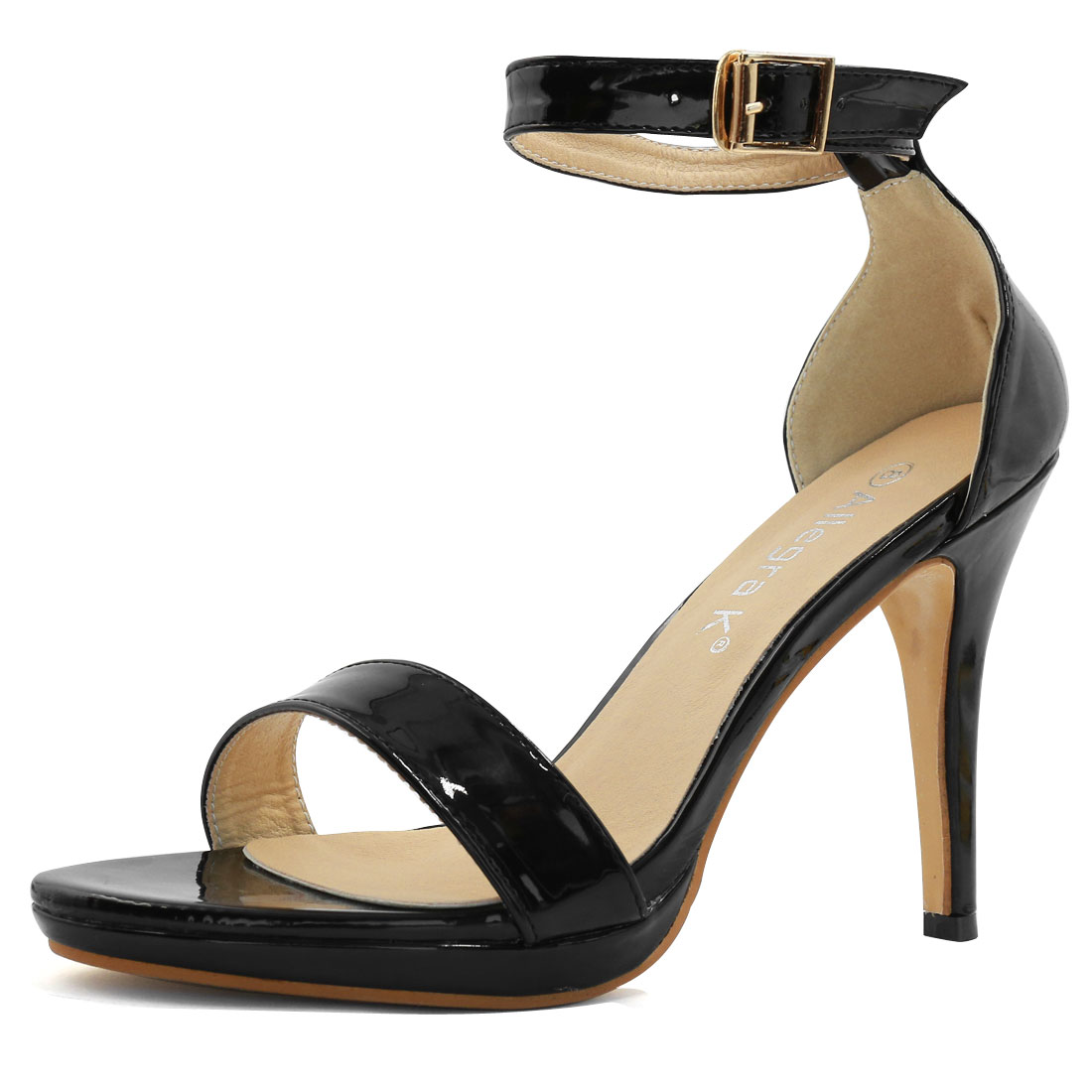 Woman Open Toe High Heel Metallic Ankle Strap Sandals Black US 8