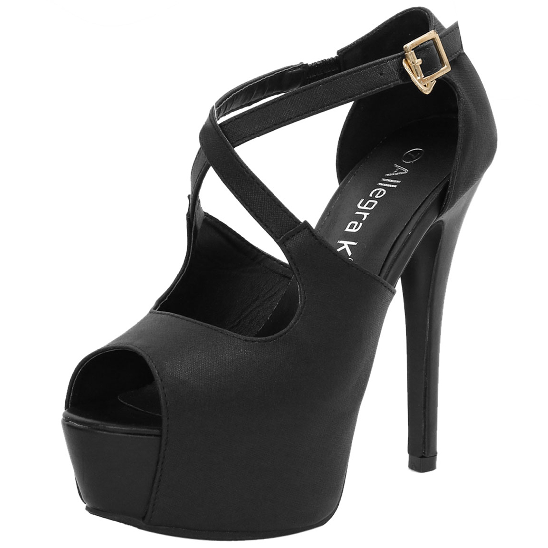 Woman Peep Toe High Heel Crisscross Straps Platform Sandals Black US 7.5