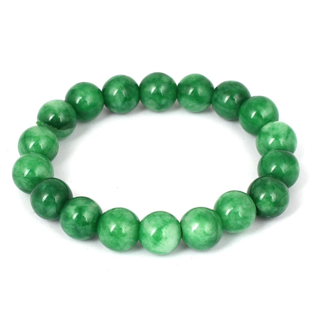 Men Women Faux Jade Elastic 10mm Round Beaded Chain Bangle Bracelet Dark Green